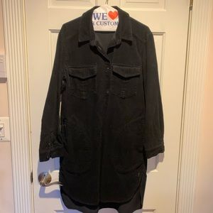 Zara Dark Blue Black Corduroy Shirt Dress